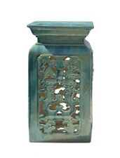 Chinese Ceramic Clay Turquoise Green Square Tall Pedestal Stand vs659