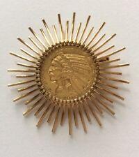 Gold 1910 $5 Indian Head Half Eagle Coin Set In 14K Sunburst Surround.