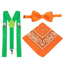 St Patrick's Day Green Braces, Orange Bow Tie & Orange Bandana Fancy Dress