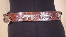 Vtg Brown Leather Belt w/ Silver  Safari Wildlife Animals Zebra Turtle Leopard