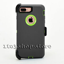 iPhone 7 Plus Hard Case w/Holster Clip for Otterbox Defender (Gray/Green Lime)