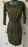 DRESS 8 36 SMALL S DITSY DOTS DITSY RUCHED DRAPED BOHO QUIRKY DOROTHY PERKINS