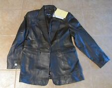 Women's NWT Denim & Co  Brown Sz L Large Lamb Leather Jacket Lined Coat