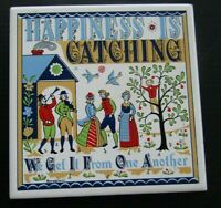 "Swedish Berggren Tile Trivet ""Happiness Is Catching"" 1965 Vintage Folk Art"