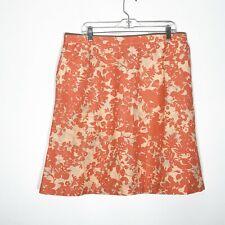 L.L. Bean A Line Skirt Womens XL Classic Fit Linen Blend Floral Coral Pink Blue