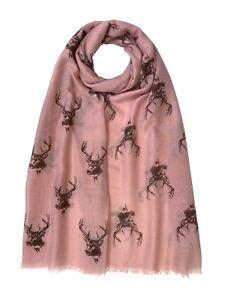 Stag Head Print Reindeer Scarf Women Christmas Light Weight Hijab Shawl Snood