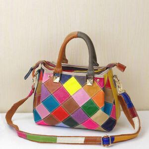 Multi-Color Genuine Leather Patchwork Women Satchel Handbag Tote Shoulder Bag