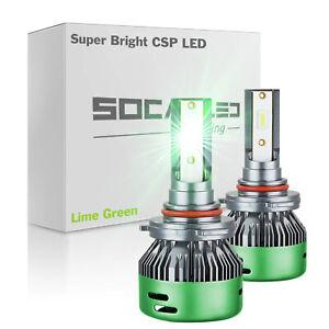 2Pcs H10 9005 9145 LED DRL Fog Light Bulbs Conversion Kits CSP 3570 Lime Green