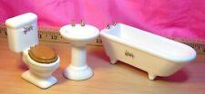 Vintage dollhouse porcelain Victorian bathroom tub sink toilet Set 1:12 scale