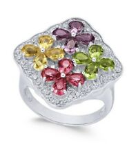 Zirconia Cluster Ring, Sz 7 Jd26 Designer Macy's Nwt $135 Sterling Silver Cubic