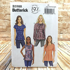 Butterick 5988 Womens Plus Size Zippered Top Shirt Blouse Sz 16 24 Uncut Pattern