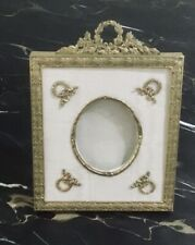 Antique French Brass and Moire Picture Frame with Brass Appliqués