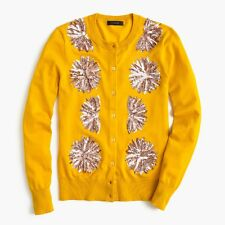 NWT - J CREW Embellished Sequin Jackie Cotton Cardigan in SUNSET GOLD - MEDIUM