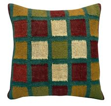 Indian Kelim Jute Cushion Cover 18x18 Hand Woven Rug Throw Rustic Pillow Cases