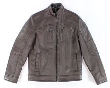 INC NEW Brown Mens Size Small S Faux-Leather Zip Motorcycle Jacket