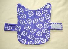 WHITE FLOWERS ON PURPLE FLEECE SMALL DOG COAT--15-17 LB DOG