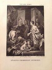 SELEUCO INCORONA ANTIOCO Incisione originale XIX secoloVAN-DER-WERFF MITO