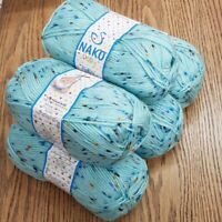 5 x 100g NAKO BABY TWEED DOUBKE KNITTING YARN acrylic blue