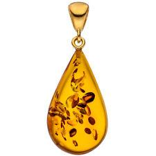 Damen Anhänger Tropfen 925 Silber gold vergoldet 1 Bernstein Bernsteinanhänger.