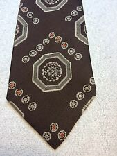 Vintage Lord Copley Mens Tie 4.25 X 57 Brown With Khaki And Orange