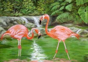 Original painting , Canvas painting , tropical flamingo , landscape painting