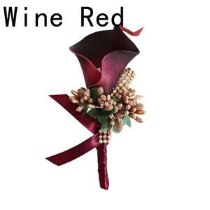 Bride Wrist Flower Groom Boutonniere Calla Corsage Artificial Silk Brooch ca