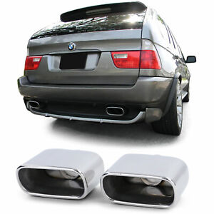 CHROME FINISH EXHAUST PIPE TRIMS TIPS FOR BMW X5 E53 1999-2006 MODEL
