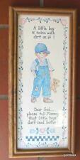 """Vintage Oak Framed Little Boy Print 6 x 13"""" Sami 1998"""