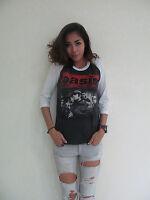 Rock Band OASIS UK Rock Punk Music Raglan T-Shirt Women's Gray Graphic Tee Bunny