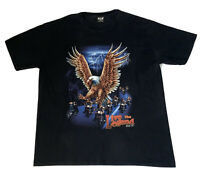 WILD LIVE the LEGEND Black Graphic T-Shirt Tee 3XL Eagle Bikers 54in P2P