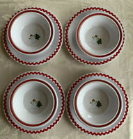 Set Of 8 Pottery Barn Kids Christmas Snowman Tree Melamine Dish Bowls Plates
