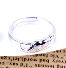 Adjustable silver tone word love angel wing ring