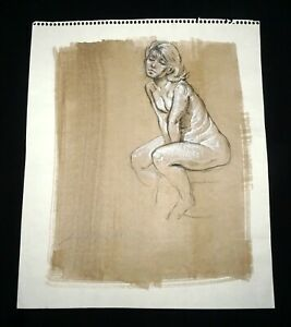 Hawaii Mixed Media Wash Painting Seated Female Nude Snowden Hodges (Sho)#122