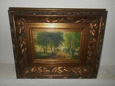 Antique oil painting,{ Landscape with people, a cow, ect., signed, nice frame }.