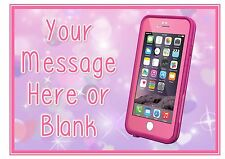 ND1 Pink iphone birthday personalised A4 cake topper icing sheet