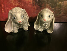 *Excellent* Pair Signed H. I. Large Studio Pottery Easter Bunny Rabbits Usa 1991