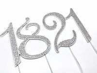 Silver 70mm Diamante Cake Pick Topper with Sparkly Numbers for Party Anniversary