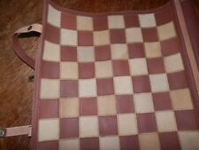 Vintage Checkers Leather Travel Set Roll Up Board Game Unused