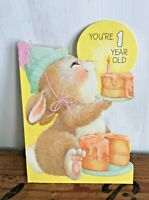 Vtg 70s 80s Hallmark Greeting Card Baby's First 1st Birthday Die Cut Bunny Mouse