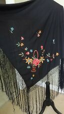 ANTIQUE ART DECO 100%SILK EMBROIDERED PIANO SHAWL EXQUISITE FLOWERS WITH FRINGE