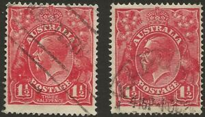 KGV     11/2d SCARLET  NO WMK      BOTH HAVE A VARIETY     not perfect