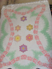Stunning curtain or tablecloth vintage upcycled quilt tablecloth garden flowers