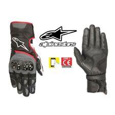 Guantes de Cuero Moto Verano Alpinestars Sp-2 V2 Negro Gris Rojo Fluorescente