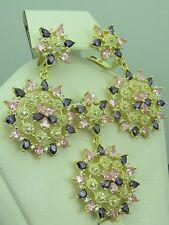 Turkish Handmade Jewelry 925 Sterling Silver Amethyst Stone Ladies' Earring Set
