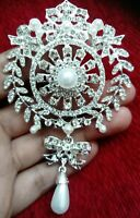 Vintage Diamante Brooch Silver Drop Rhinestone Crystal Large Pin Ladies Gift