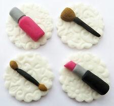 Set di 12 MAKE UP Cupcake PLACCHE handmade Commestibili Zucchero Torta Decorazioni 4,5 cm