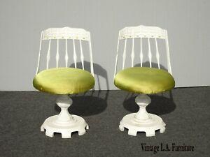 Pair Vintage Mid Century Cast Iron Swivel White Counter Stools Barstools Spanish