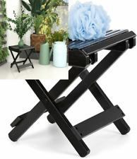ETECHMART 12 Inch Folding Bamboo Step Stool for Shower, Leg Shaving and Black