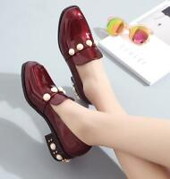 Hot Womens Square Toe High Block Heel Patent Leather Pearl Slip On Loafers Shoes
