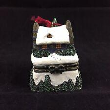 1999 Thomas Kinkade Trinket Box Ornament Stonehearth Hutch Christmas Cottage IV
